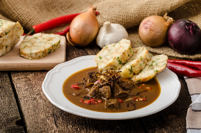 42812871 - classic czech goulash with dumplings, homemade karlovarsky dumplings