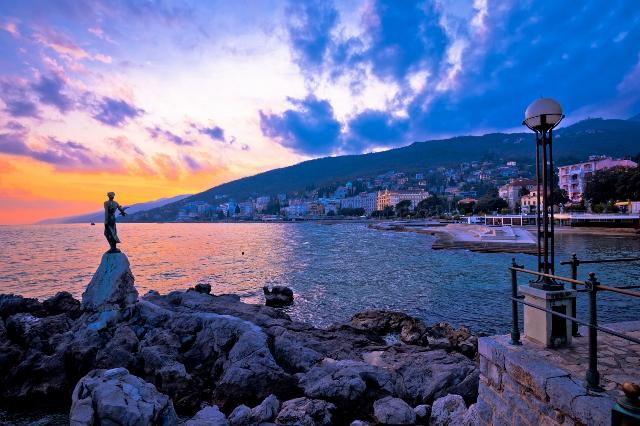 70254973 - town of opatija waterfront sunset, kvarner bay in croatia
