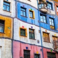 50203975 - hundertwasser house, colorful facade fragment, one of the most popular landmark of vienna, austria
