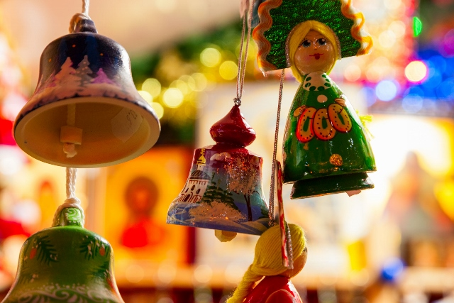 24172774 - christmas decorations on sale at the market, shallow dof